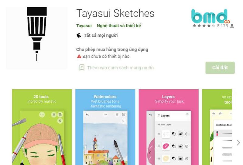 app thiết kế Tayasui Sketches