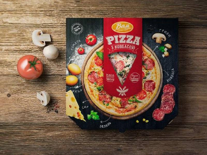 Hình ảnh thức ăn trên hộp là điểm nhấn
