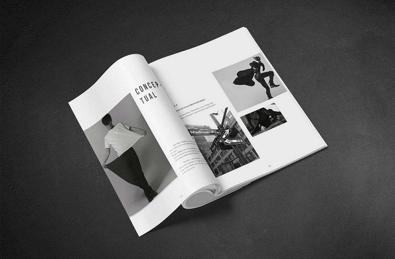 Cách điệu với brochure đen trắng