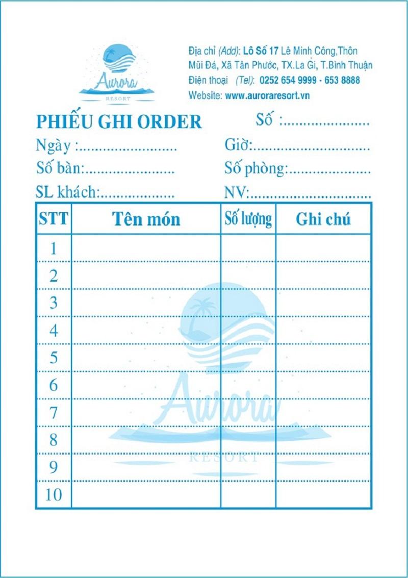 Mẫu hóa đơn dành cho nhà hàng phổ biến