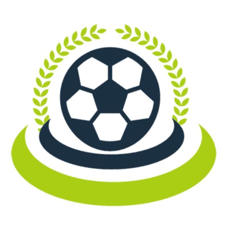 Logo cách điệu độc đáo với hình quả bóng trên bục vinh quang