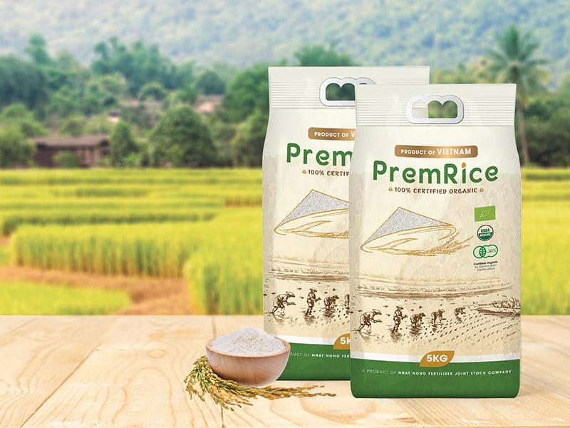Mẫu bao bì nhựa PP gạo sạch hữu cơ